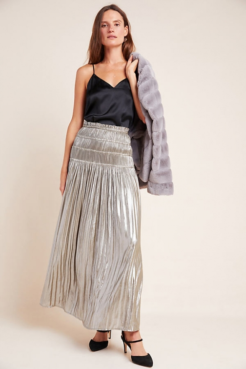 Anthropologie Zadie Metallic Maxi Skirt