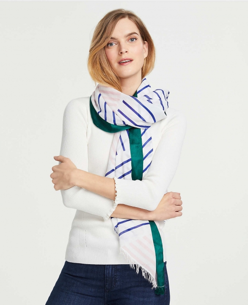 Ann Taylor Striped Patchwork Scarf
