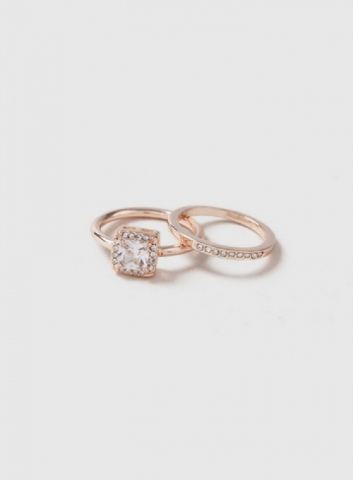 Dorothy Perkins Rose Gold Square Stone Pack Ring
