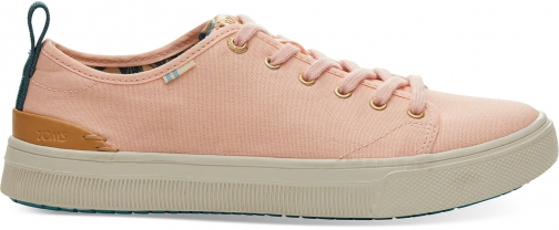 Toms Coral Pink Canvas Trvl Lite Low Women's Sneakers Shoes Trainer