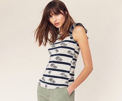 Oasis Palm Stripe Shell Top