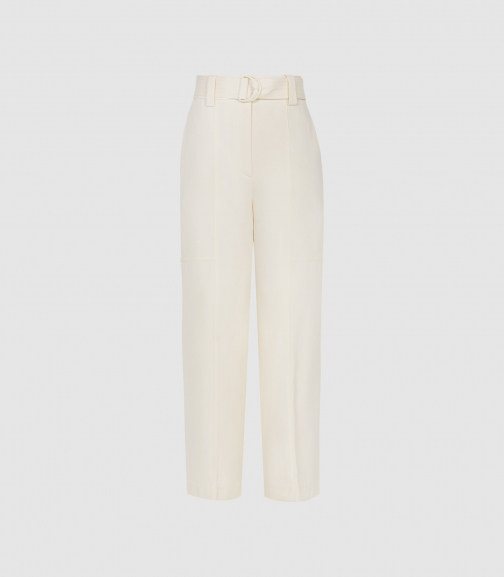 Reiss Emily - Cropped Belted Trousers Ivory, Womens, Size 4 Trouser