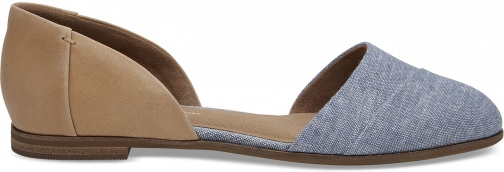 Toms Honey Leather Blue Chambray Women's Jutti D'orsay Shoes Flats