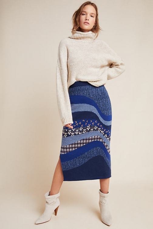 Anthropologie Lavinia Knitted Pencil Skirt