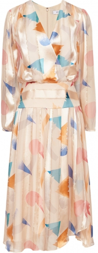 Reiss Melody - Silk Metallic Fit And Flare Neutral, Womens, Size 4 Dress