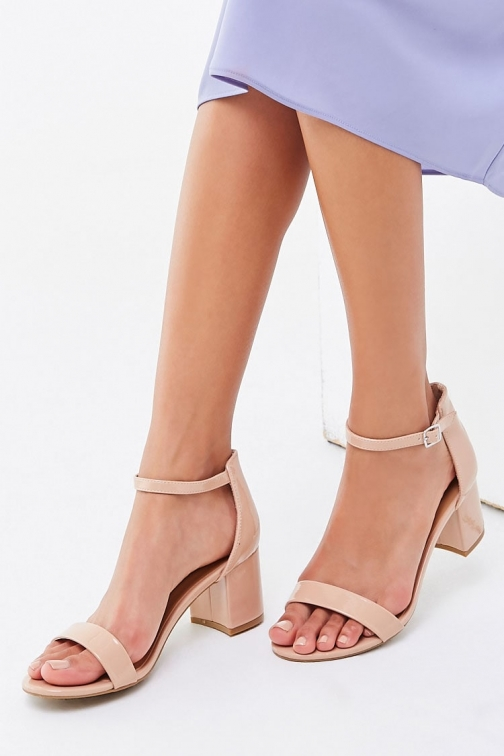 Forever21 Forever 21 Open Toe Block Heels , Nude Shoes