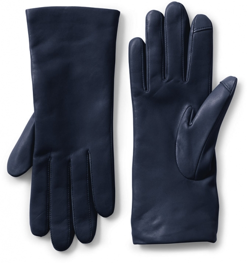 Lands' End Women's EZ Touch Screen Cashmere Lined Leather - Lands' End - Blue - S Glove