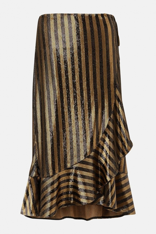 Karen Millen Stripe Sequin Wrap Gold, Gold Skirt