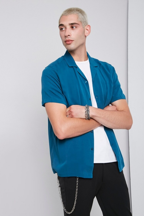 21 Men Classic Fit Short Sleeve At Forever 21 , Teal Shirt