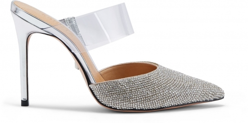 Schutz Shoes Serenitty Mule - 7.5 Prata Silver Leather & Vinyl Shoes