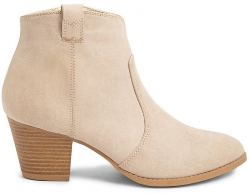 Forever21 Forever 21 Faux Leather Booties Beige Boot