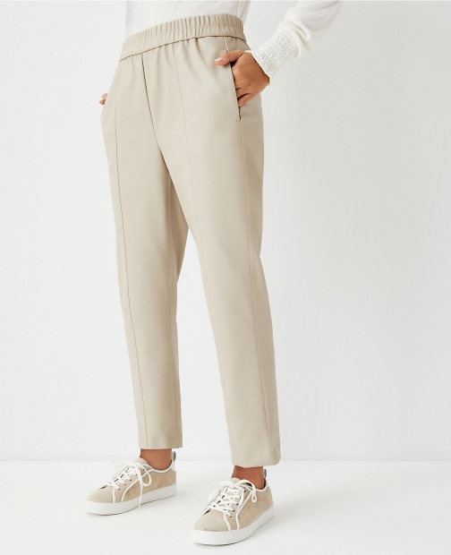 Ann Taylor The Petite Faux Leather Pull On Ankle Pant Trouser