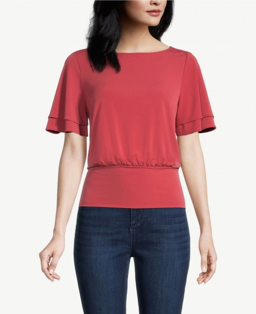Ann Taylor Factory Layered Sleeve Banded Bottom Top Shirt