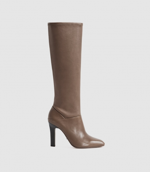 Reiss Cressida - Leather Taupe, Womens, Size 8 Knee High Boots