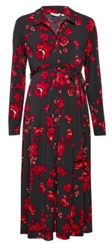 Dorothy Perkins Maternity Red Floral Print Shirt Dress