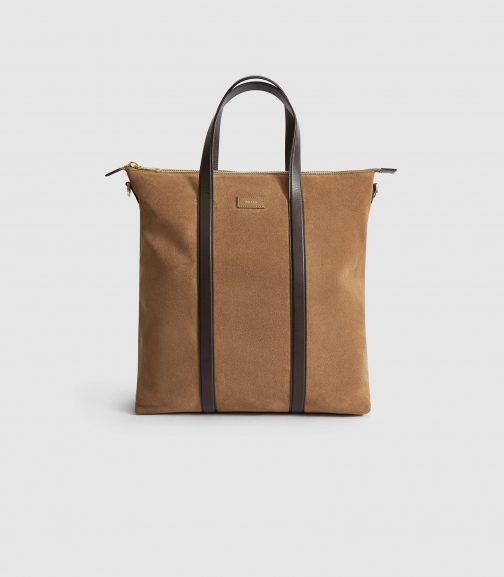 Reiss Huxley - Suede Bag Camel, Mens Tote