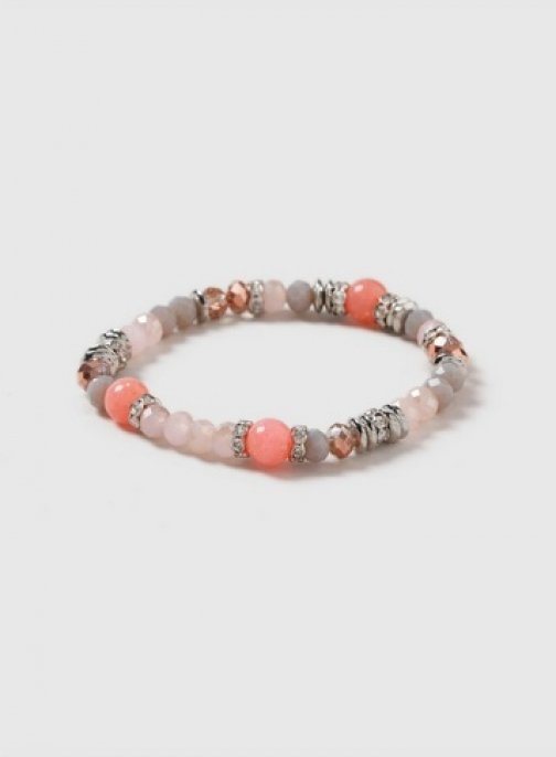 Dorothy Perkins Pink And Grey Bead Rhinestone Stretch Wristwear Jewellery