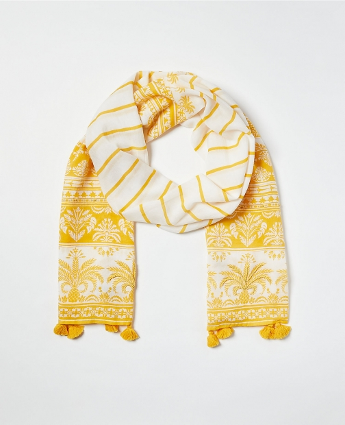 Ann Taylor Pineapple Embroidered Scarf
