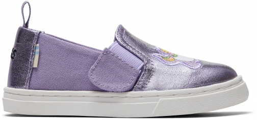 Toms Purple Foil Unicorn Canvas Tiny TOMS Luca Slip-Ons Shoes