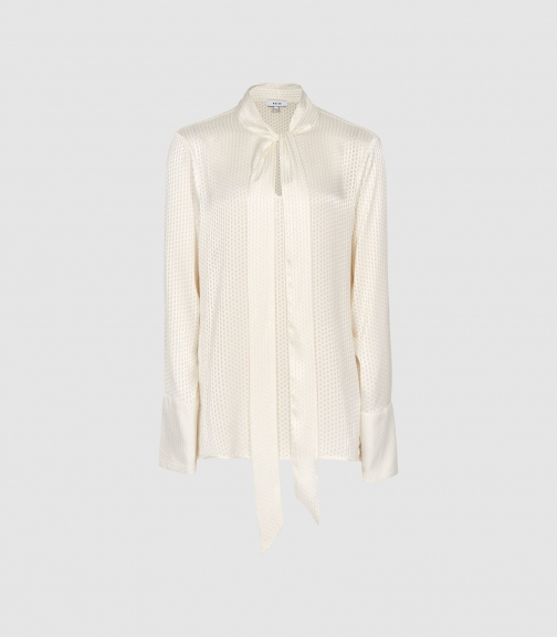 Reiss Adeline - Burnout Detail Ivory, Womens, Size 4 Blouse