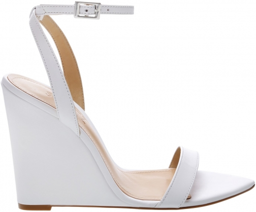 Schutz Shoes Raquel - 5 White Leather Wedge Sandal