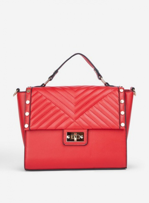 Dorothy Perkins Red Quilted Stud Mini Bag Tote