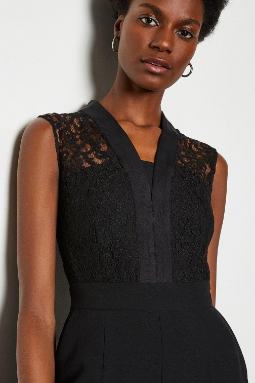 Karen Millen Lace Tailored Black, Black Jumpsuit