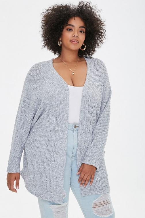 Forever21 Plus Forever 21 Plus Size Draped-Front , Heather Grey Cardigan