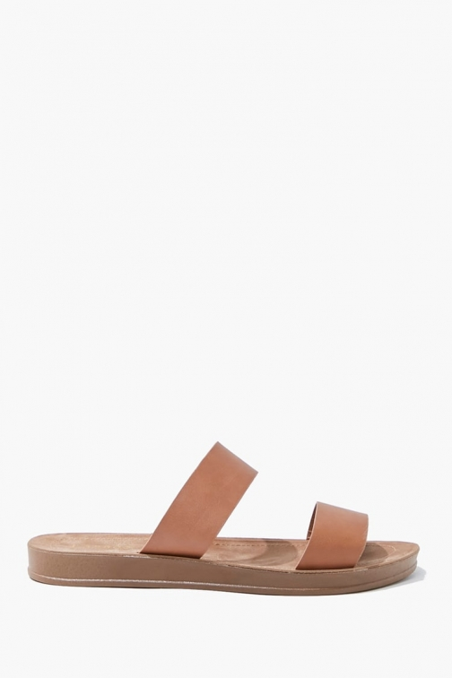 Forever21 Forever 21 Faux Leather Dual-Strap , Brown Sandals