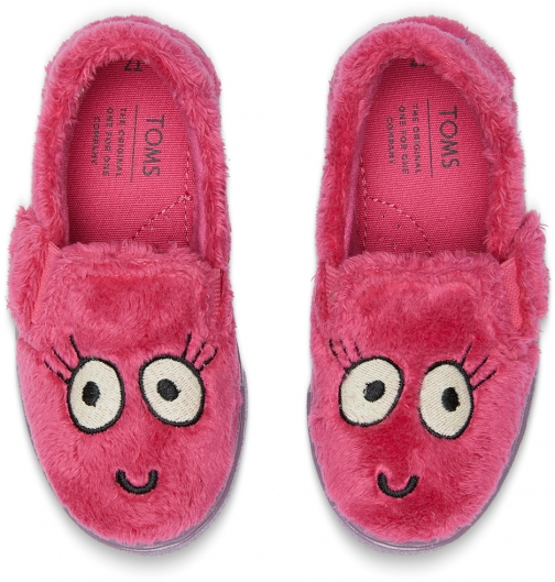 Toms Hot Pink Glow The Dark Fuzzy Monster Tiny TOMS Luca Slip-Ons Shoes