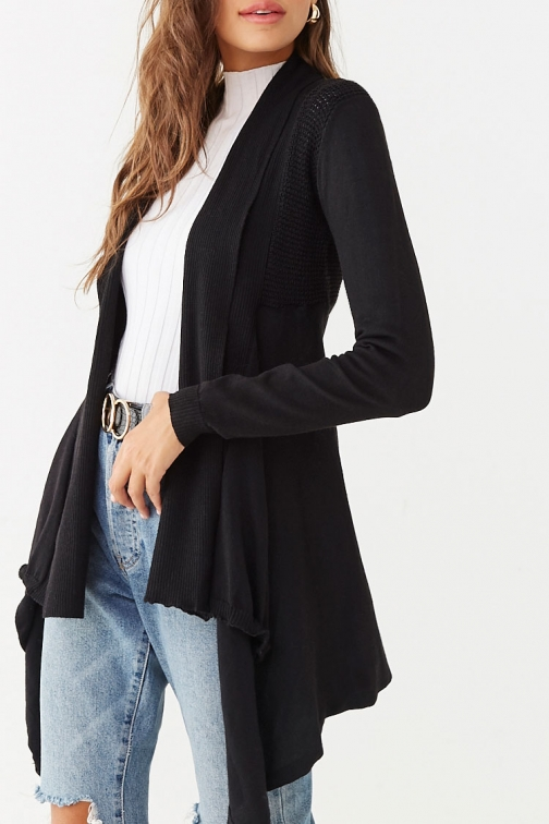 Forever21 Forever 21 Open-Knit Trim , Black Cardigan