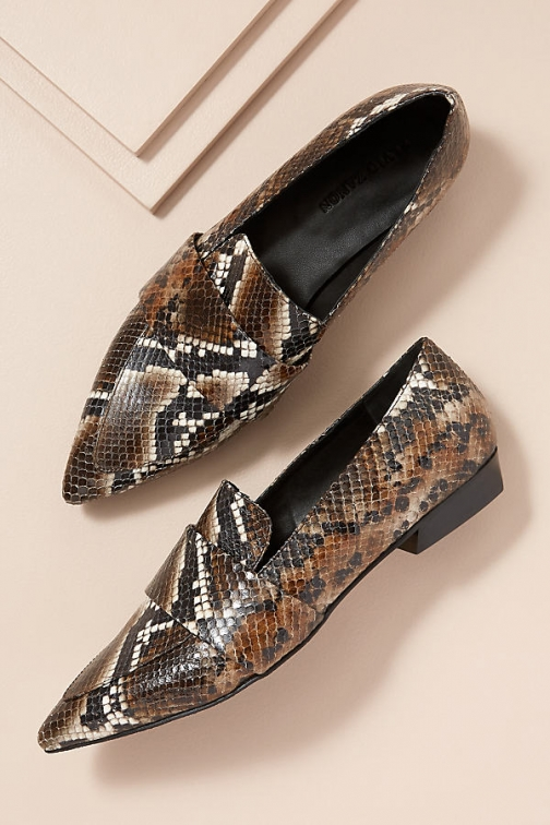 Anthropologie Snake-Effect Leather Loafers Shoes
