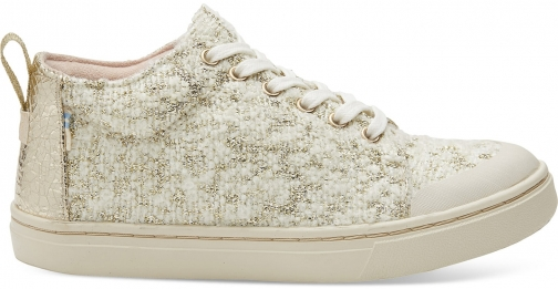Toms White Slub Holiday Youth Lenny Mid Sneakers Shoes