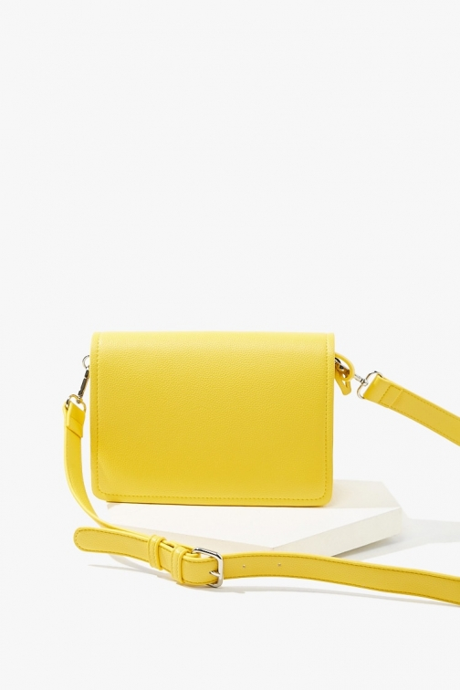 Forever21 Forever 21 Pebbled Faux Leather , Yellow Crossbody Bag