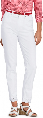 Lands' End Women's High Rise Slim Leg Ankle - Embroidered - Lands' End - White - 2 Jeans