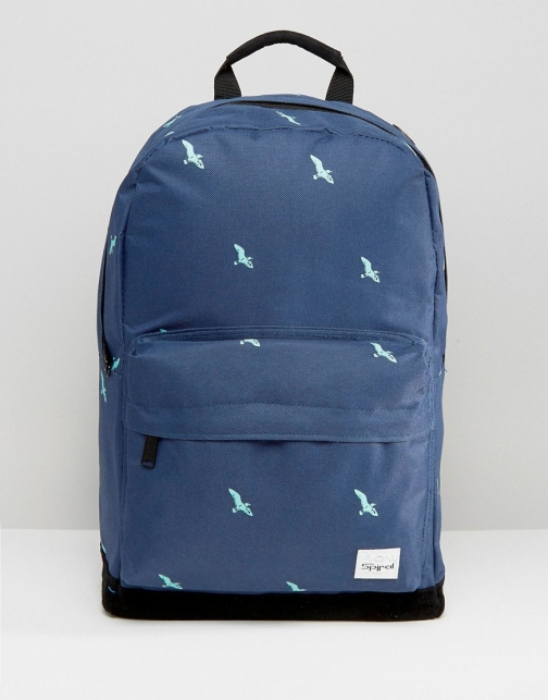 Asos Spiral Birds Navy Backpack