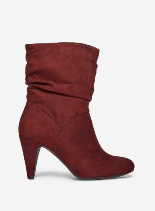 Dorothy Perkins Womens Burgundy Microfibre 'Kylie' Ruched - Red, Red Ankle Boot