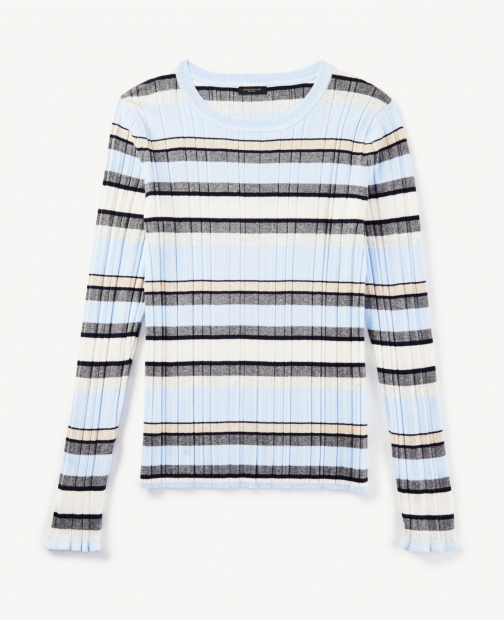 Ann Taylor Striped Ruffle Ribbed Crew Neck Sweater Sweatshirt