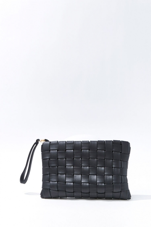 Forever21 Faux Leather Crosshatch At Forever 21 , Black Clutch