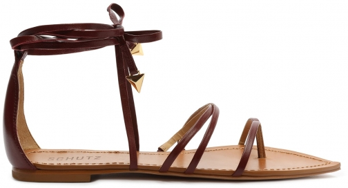 Schutz Shoes Leaf Leather Flat Sandal - 5 Red Brown Leather Sandals