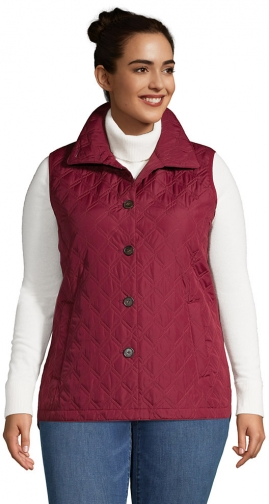 Lands' End Women's Plus Size Insulated Packable Quilted Barn Vest - Lands' End - Red - 1X Top