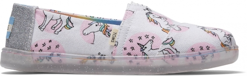 Toms Pastel Shimmer Unicorns Canvas Youth Classics Slip-On Shoes