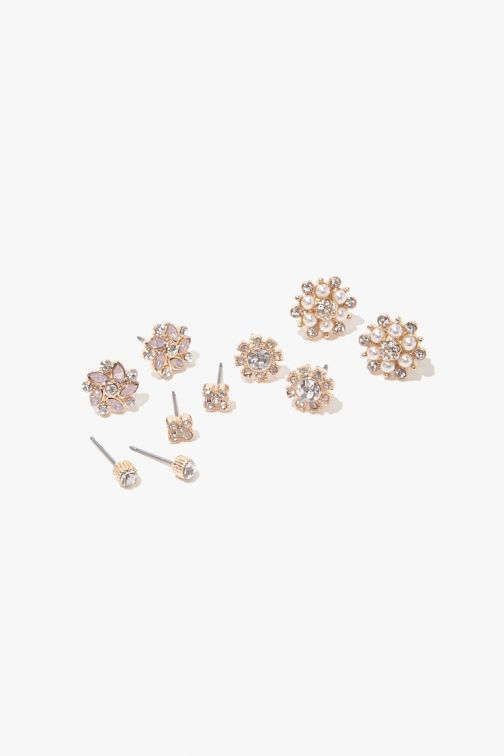 Forever21 Forever 21 Faux Pearl & Rhinestone Stud Earring Set , Gold/clear Jewellery