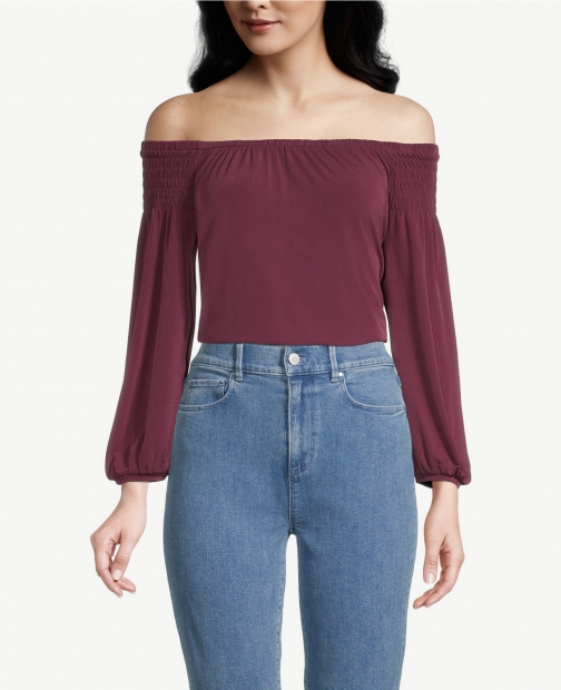 Ann Taylor Factory Long Sleeve Off The Shoulder Top