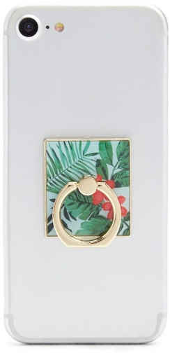 Forever21 Forever 21 Floral Print Phone , Green/gold Ring