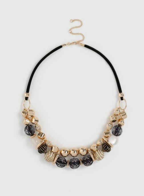 Dorothy Perkins Black And Gold Bead Necklace