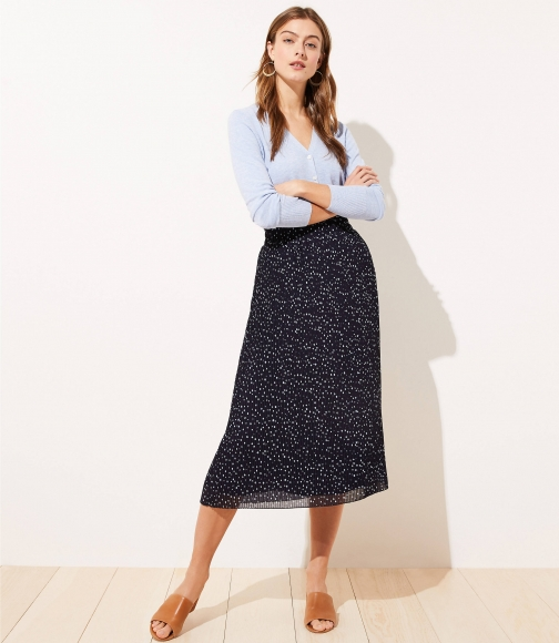 Loft Dotted Pleated Midi Skirt