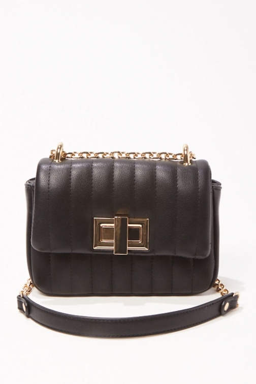 Forever21 Forever 21 Quilted Faux Leather Crossbody , Black Crossbody Bag