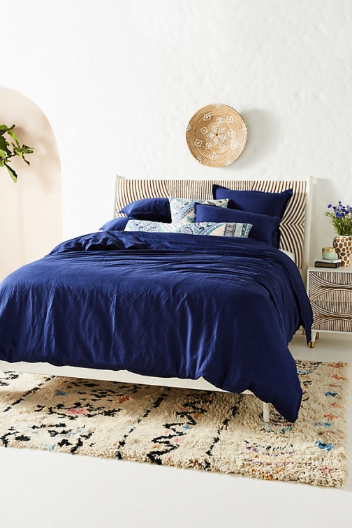 Anthropologie Relaxed Cotton-Linen Duvet Cover - Blue, Size Q /bed Top