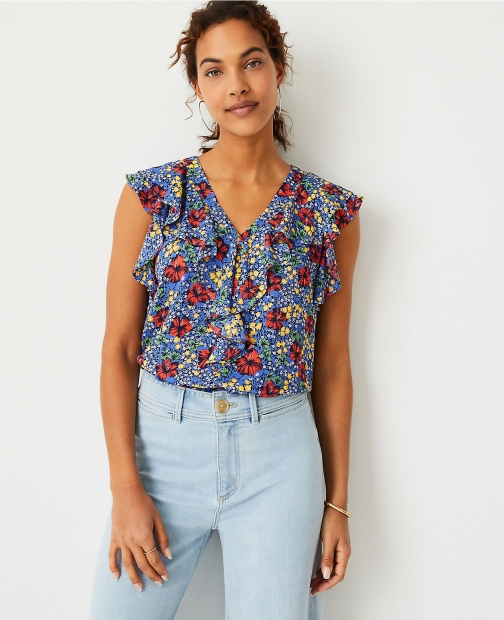 Ann Taylor Petite Floral Ruffle V-Neck Shell Top
